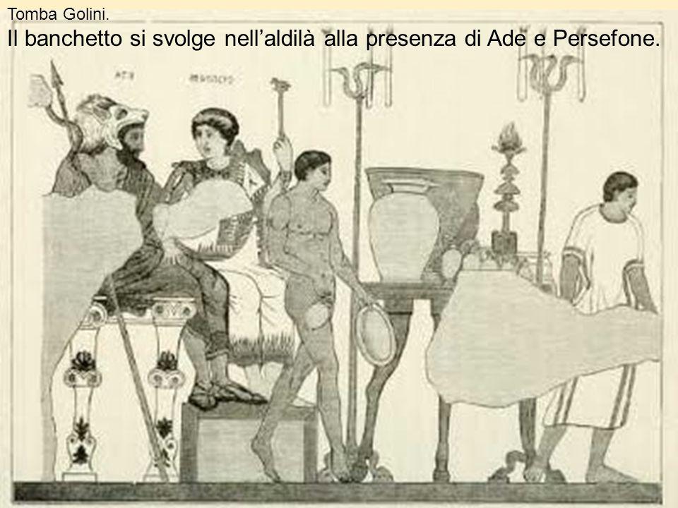 Il banchetto si svolge nell'aldilà alla presenza di Ade e Persefone.