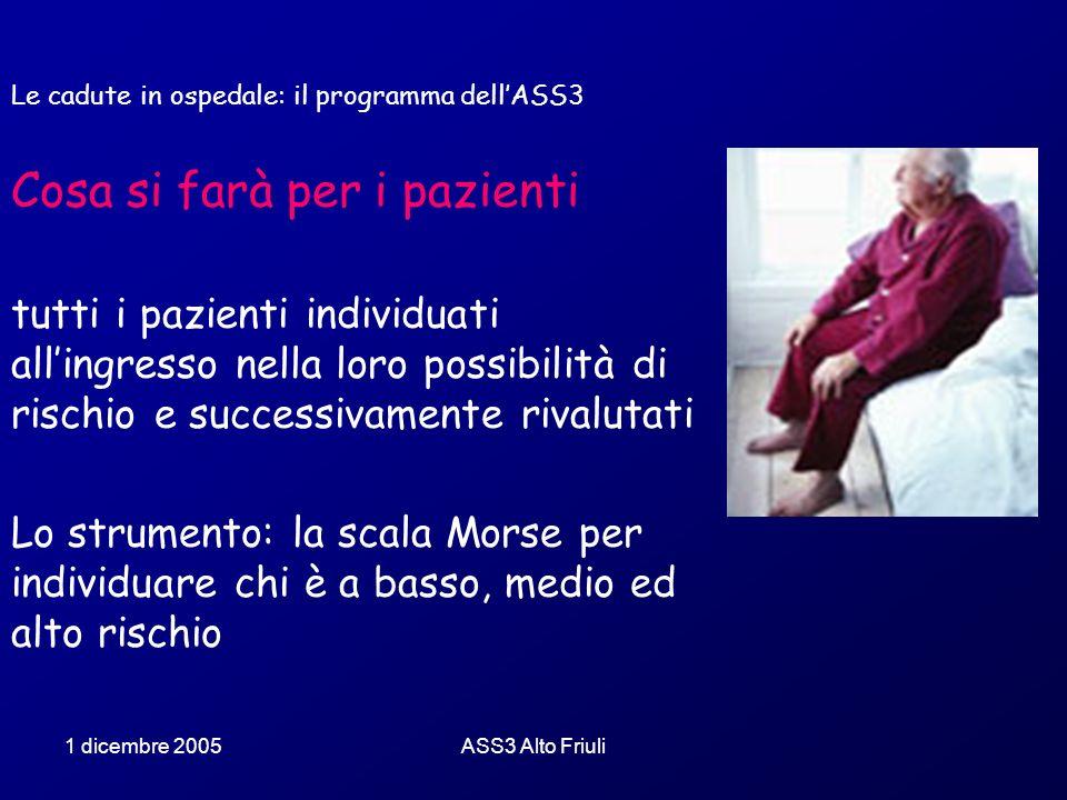Le cadute in ospedale: il programma dell'ASS3