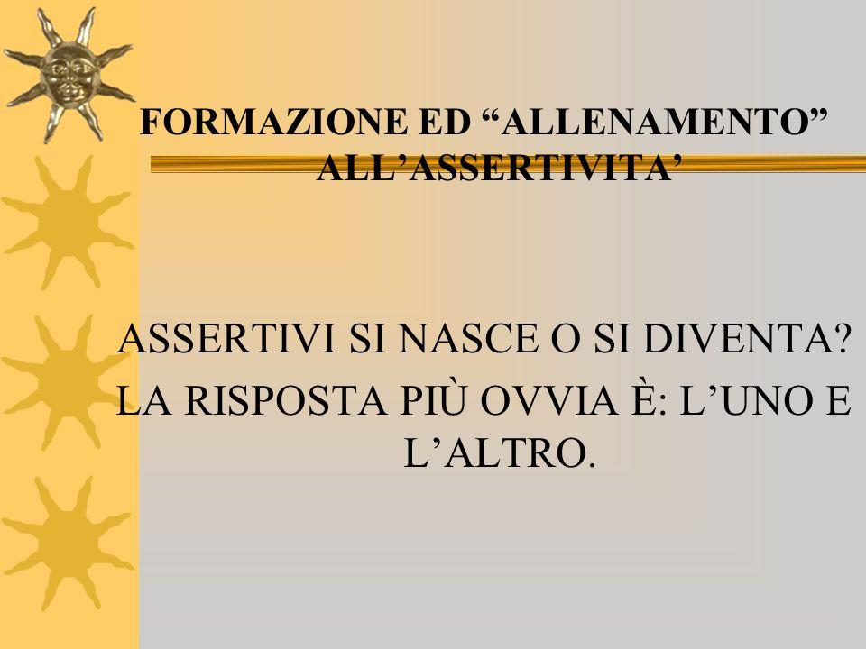 FORMAZIONE ED ALLENAMENTO ALL'ASSERTIVITA'