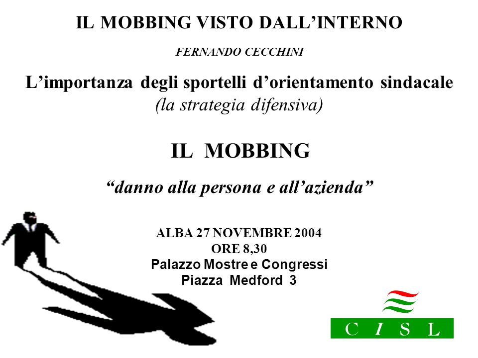 IL MOBBING VISTO DALL'INTERNO FERNANDO CECCHINI
