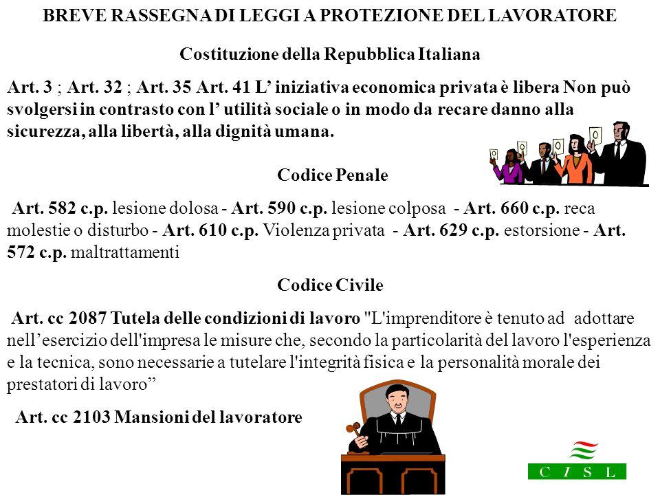 BREVE RASSEGNA DI LEGGI A PROTEZIONE DEL LAVORATORE