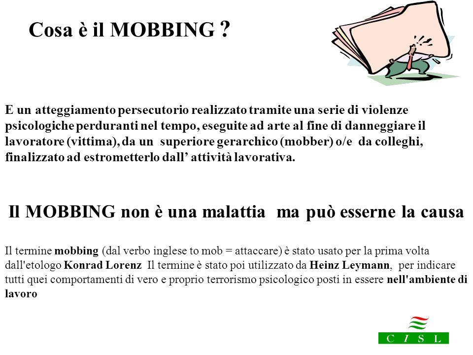 Il MOBBING non è una malattia ma può esserne la causa