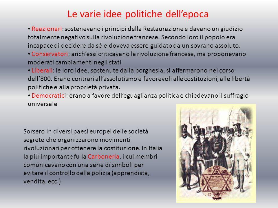 Le varie idee politiche dell'epoca