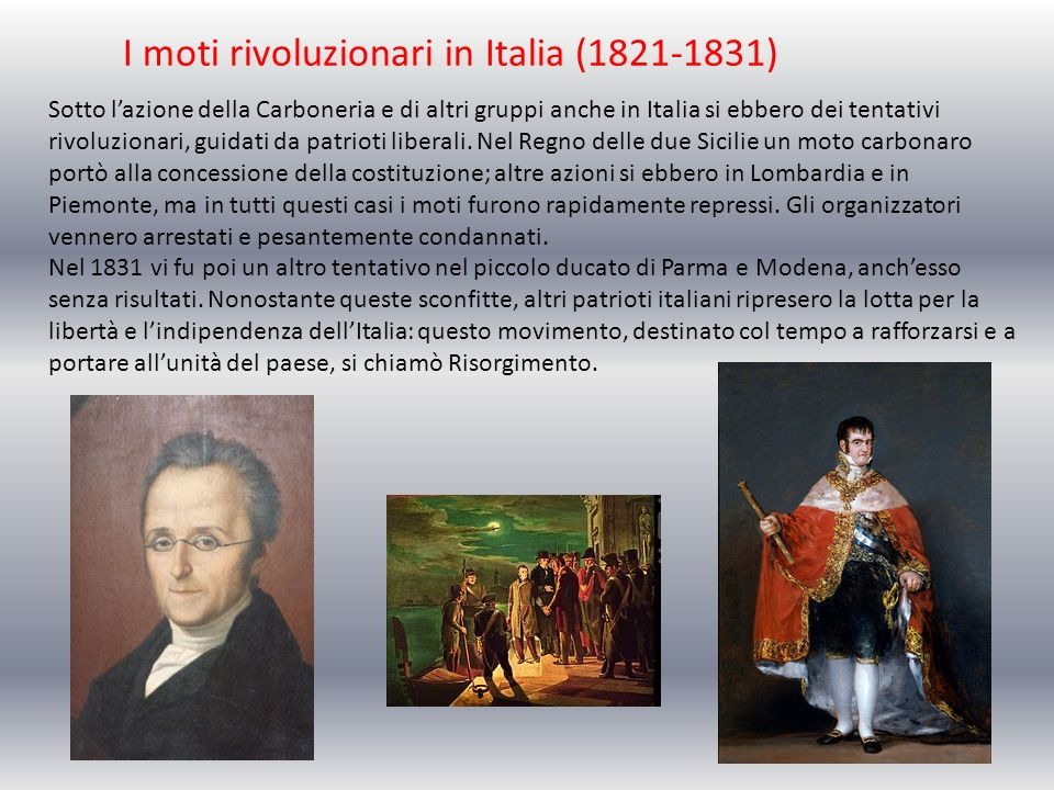 I moti rivoluzionari in Italia (1821-1831)