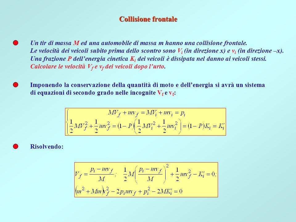 Collisione frontale Un tir di massa M ed una automobile di massa m hanno una collisione frontale.