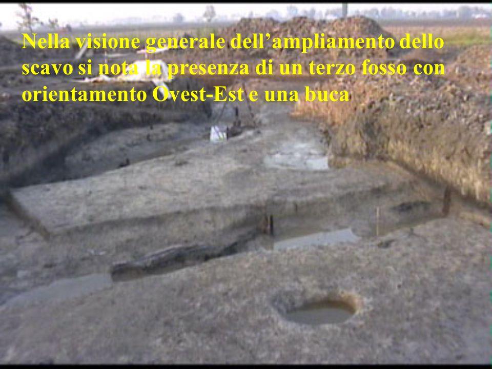 Nella visione generale dell'ampliamento dello scavo si nota la presenza di un terzo fosso con orientamento Ovest-Est e una buca