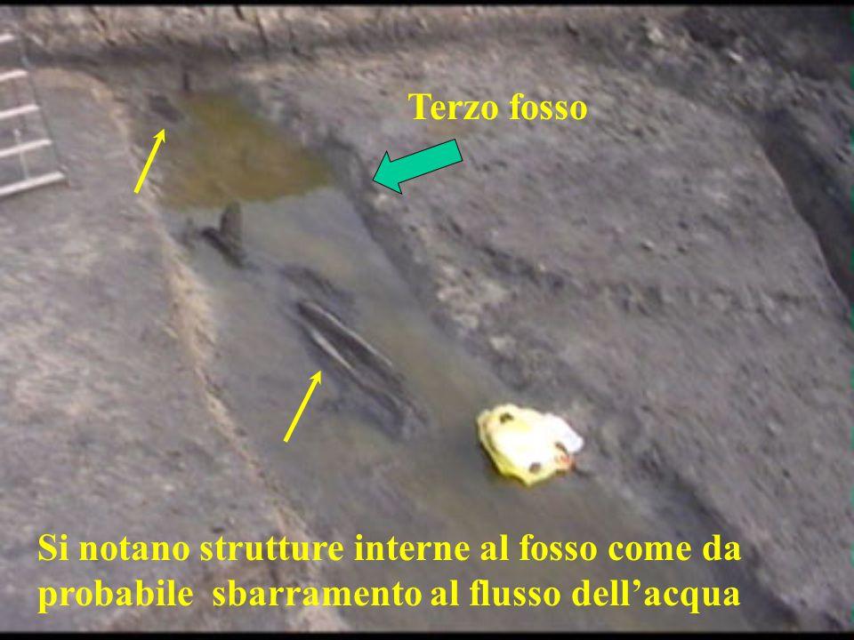 Terzo fosso Si notano strutture interne al fosso come da probabile sbarramento al flusso dell'acqua.