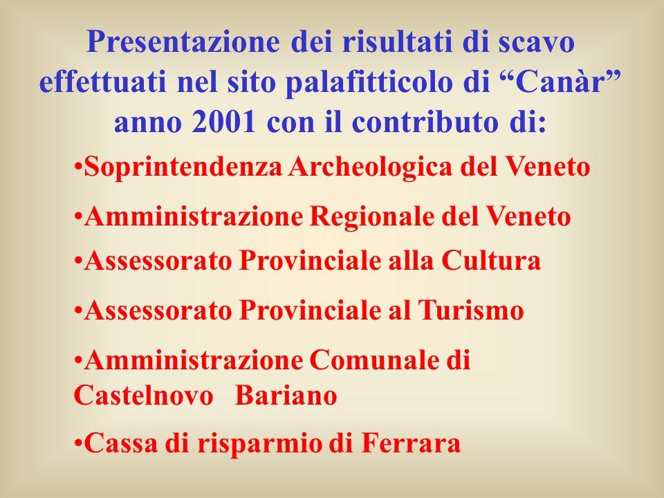 Presentazione dei risultati di scavo effettuati nel sito palafitticolo di Canàr anno 2001 con il contributo di:
