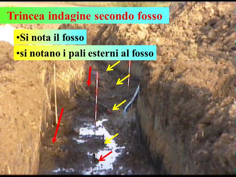 Trincea indagine secondo fosso si notano i pali esterni al fosso