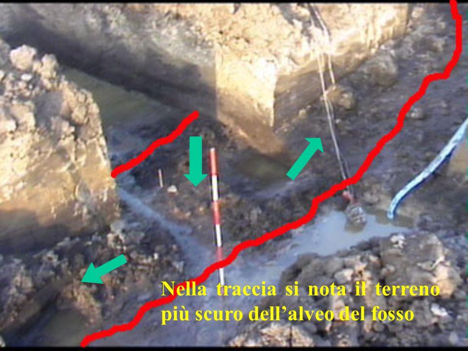 Nella traccia si nota il terreno più scuro dell'alveo del fosso