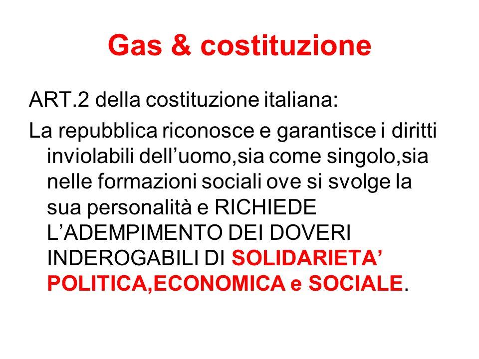 Gas & costituzione ART.2 della costituzione italiana: