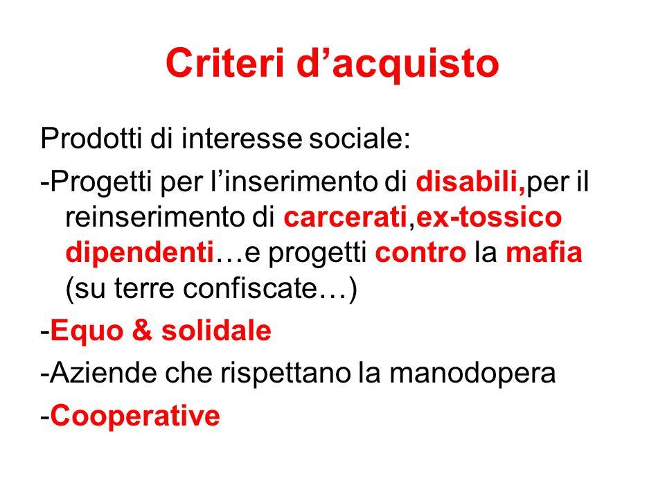Criteri d'acquisto Prodotti di interesse sociale: