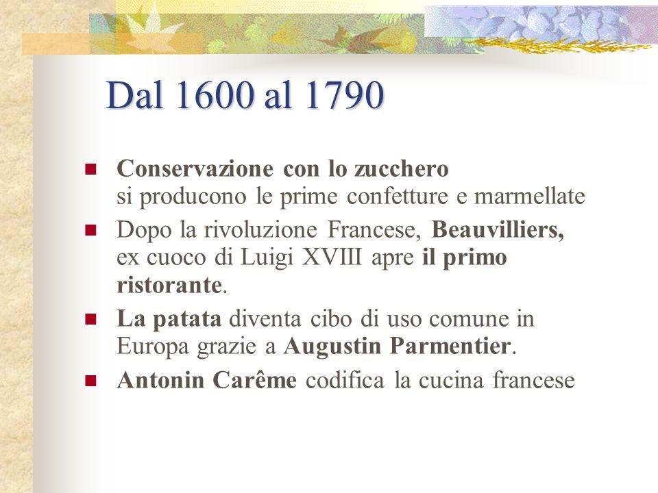Dal 1600 al 1790 Conservazione con lo zucchero si producono le prime confetture e marmellate.