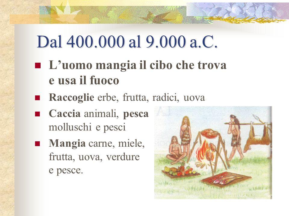 Dal 400.000 al 9.000 a.C. L'uomo mangia il cibo che trova e usa il fuoco. Raccoglie erbe, frutta, radici, uova.
