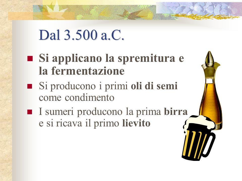 Dal 3.500 a.C. Si applicano la spremitura e la fermentazione