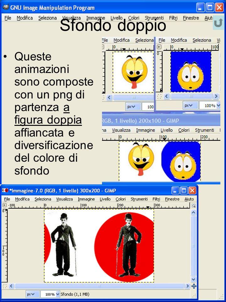 Sfondo doppio Queste animazioni sono composte con un png di partenza a figura doppia affiancata e diversificazione del colore di sfondo.