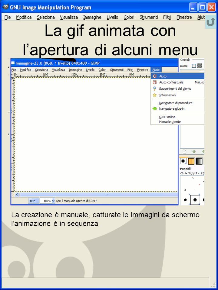 La gif animata con l'apertura di alcuni menu