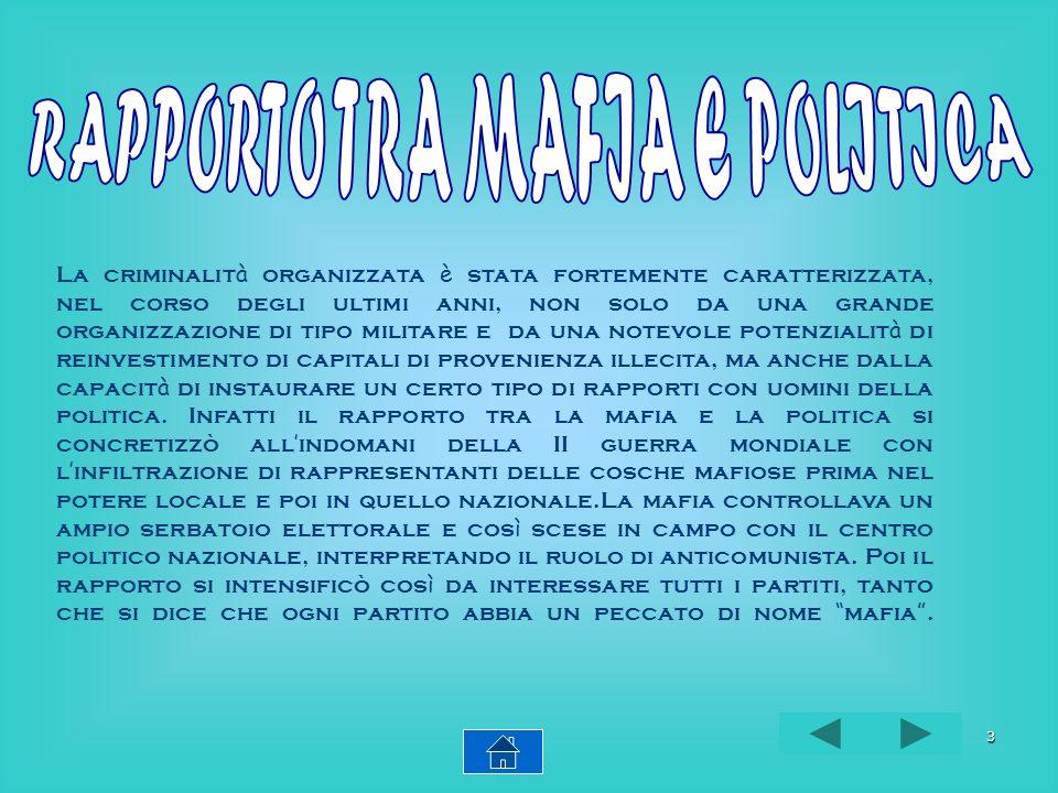 RAPPORTO TRA MAFIA E POLITICA