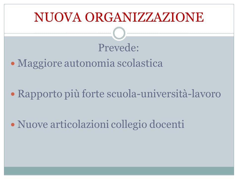 NUOVA ORGANIZZAZIONE Prevede: Maggiore autonomia scolastica