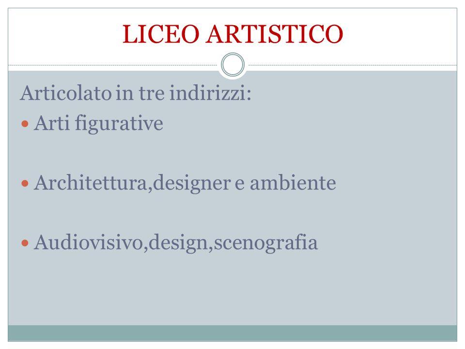 LICEO ARTISTICO Articolato in tre indirizzi: Arti figurative