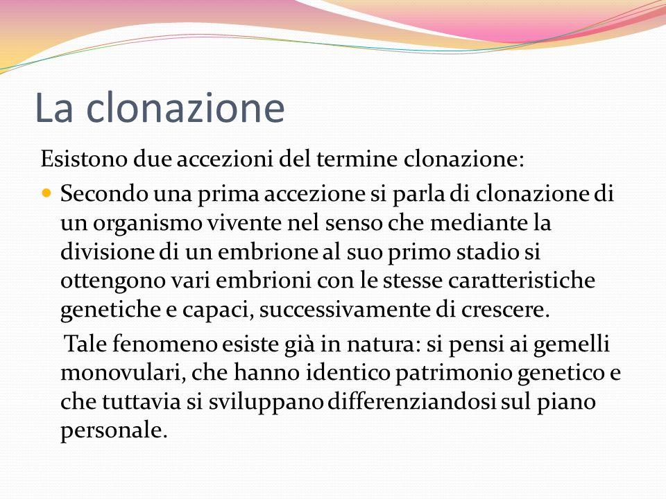 La clonazione Esistono due accezioni del termine clonazione: