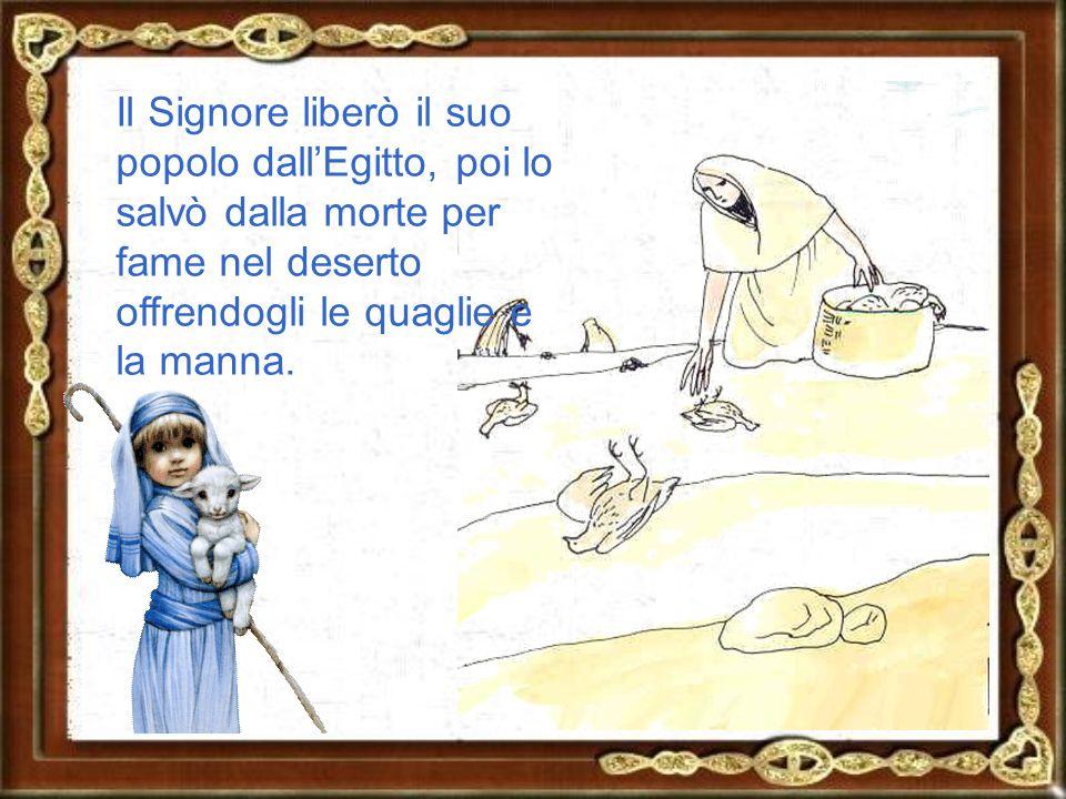 Il Signore liberò il suo popolo dall'Egitto, poi lo salvò dalla morte per fame nel deserto offrendogli le quaglie e la manna.