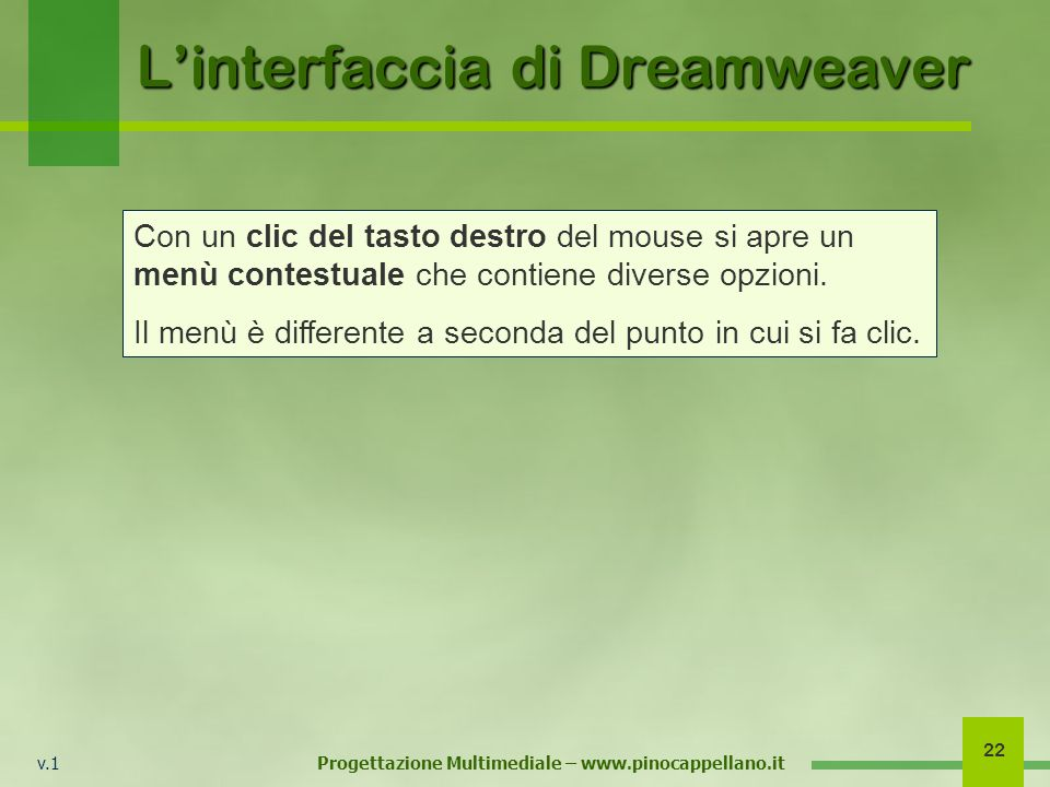L'interfaccia di Dreamweaver