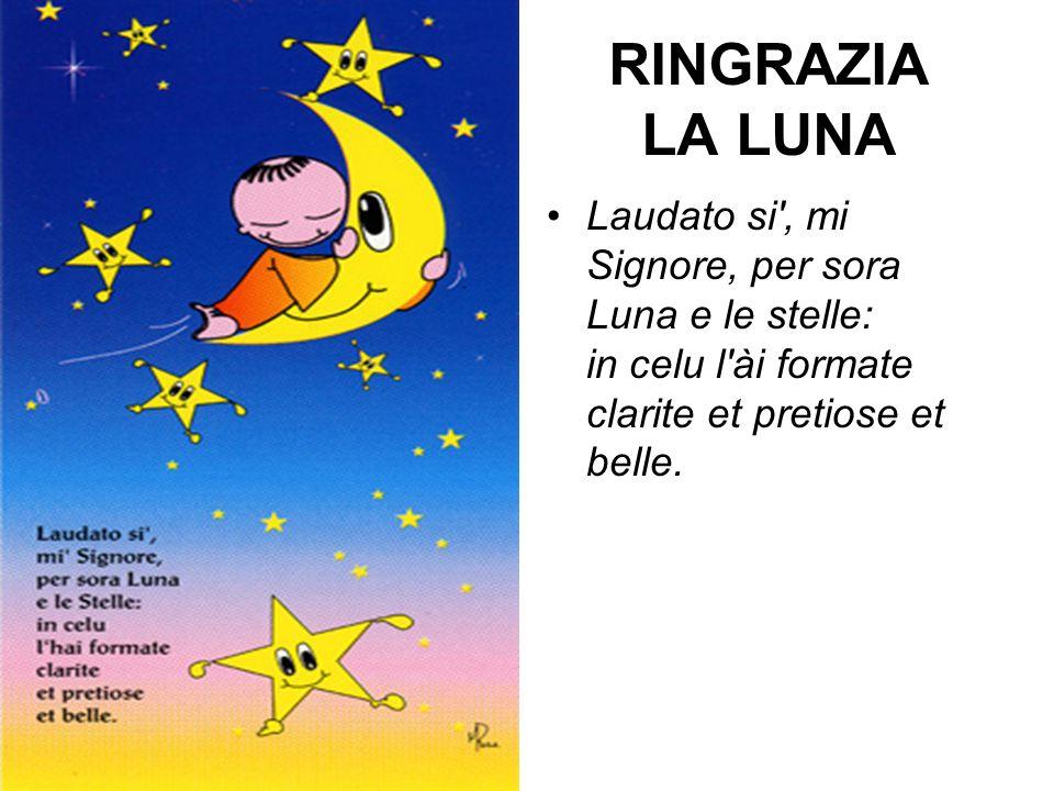 RINGRAZIA LA LUNA Laudato si , mi Signore, per sora Luna e le stelle: in celu l ài formate clarite et pretiose et belle.