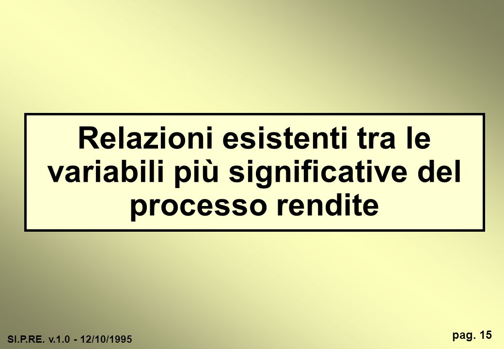 Relazioni esistenti tra le variabili più significative del processo rendite