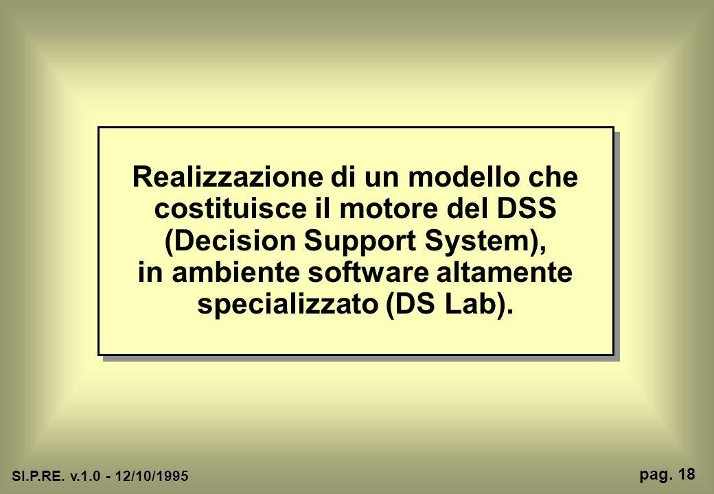 Realizzazione di un modello che costituisce il motore del DSS (Decision Support System), in ambiente software altamente specializzato (DS Lab).