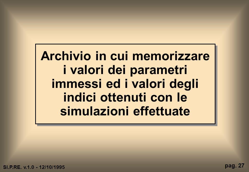 Archivio in cui memorizzare i valori dei parametri immessi ed i valori degli indici ottenuti con le simulazioni effettuate