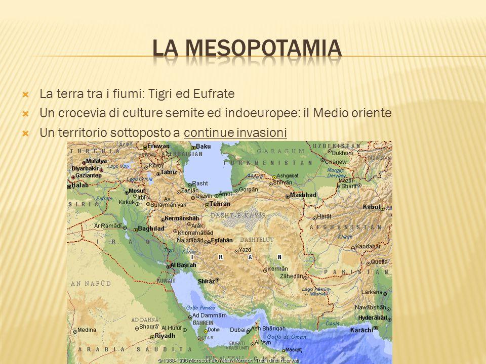 La Mesopotamia La terra tra i fiumi: Tigri ed Eufrate