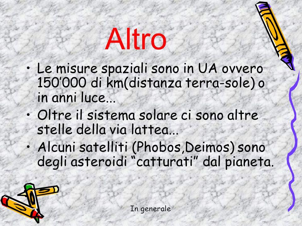 Altro Le misure spaziali sono in UA ovvero 150'000 di km(distanza terra-sole) o in anni luce...
