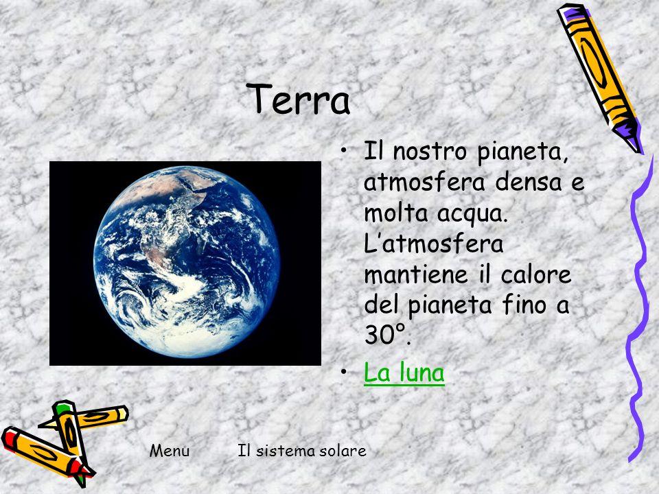 Terra Il nostro pianeta, atmosfera densa e molta acqua. L'atmosfera mantiene il calore del pianeta fino a 30°.