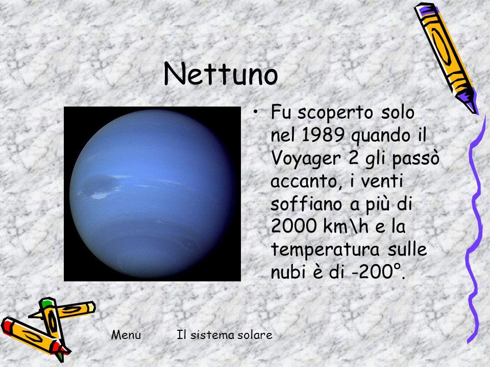 Nettuno Fu scoperto solo nel 1989 quando il Voyager 2 gli passò accanto, i venti soffiano a più di 2000 km\h e la temperatura sulle nubi è di -200°.