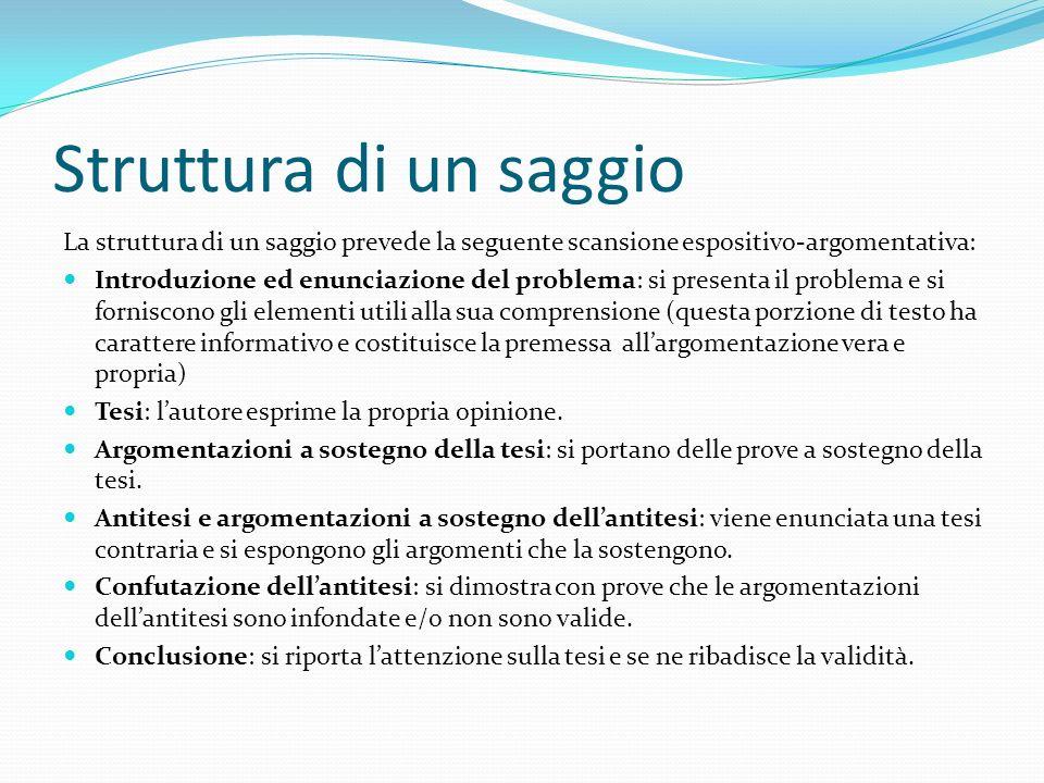 Struttura di un saggio La struttura di un saggio prevede la seguente scansione espositivo-argomentativa: