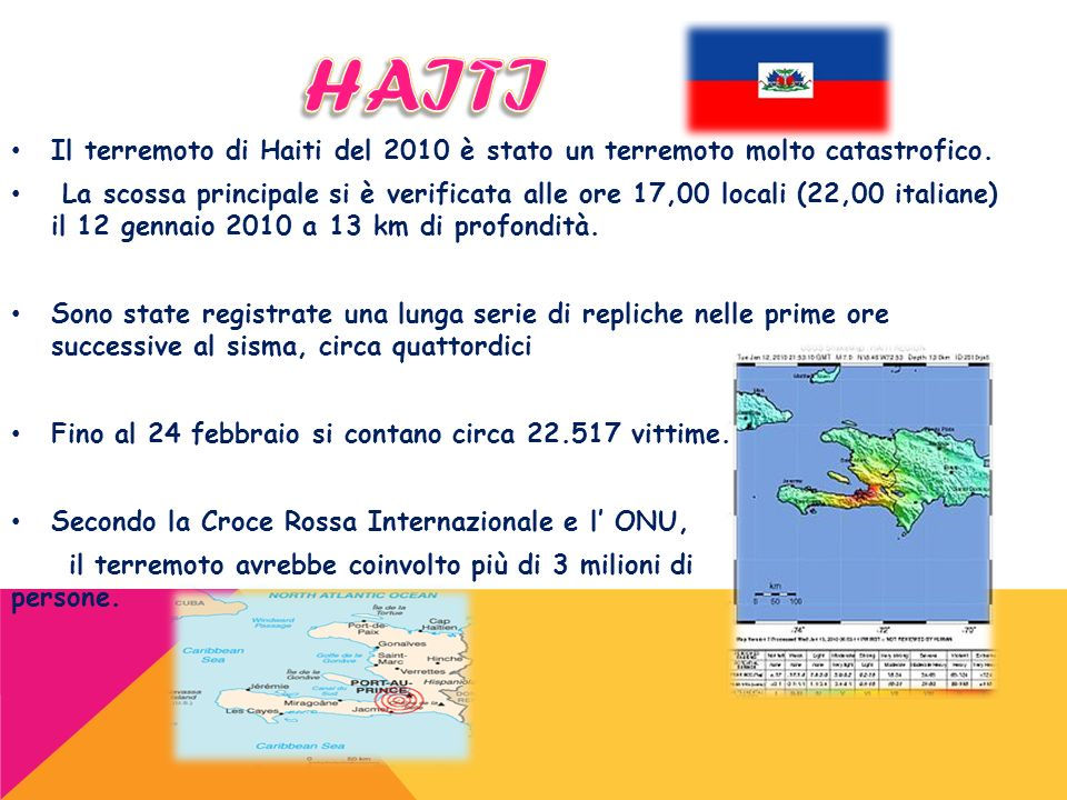 HAITI Il terremoto di Haiti del 2010 è stato un terremoto molto catastrofico.