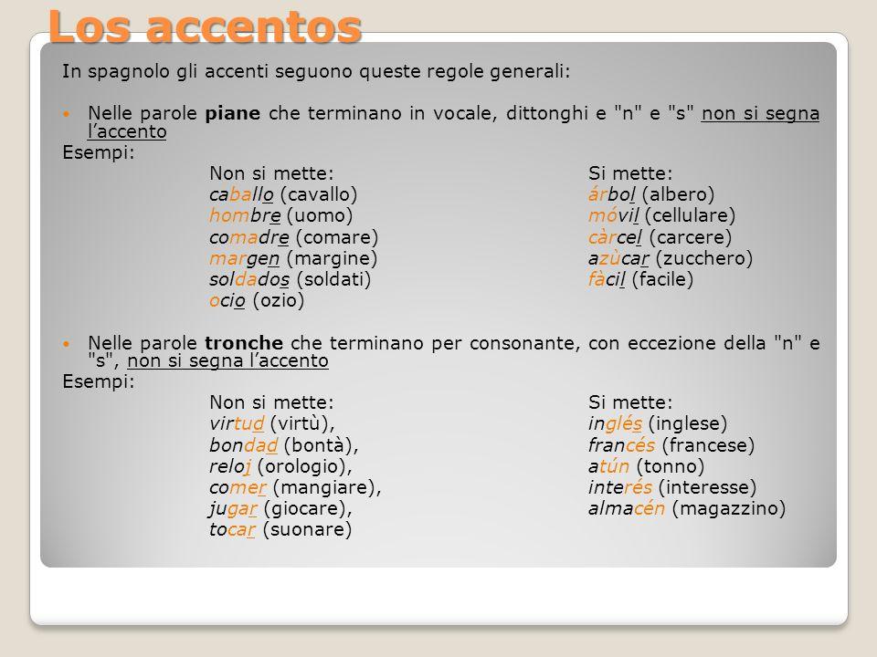Los accentos In spagnolo gli accenti seguono queste regole generali: