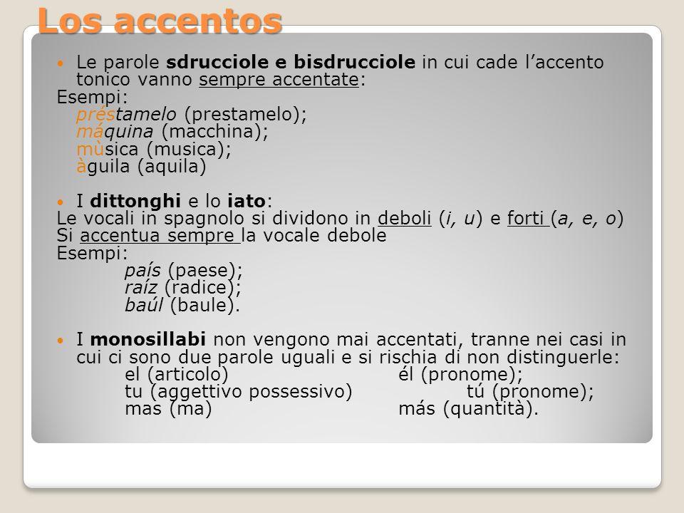 Los accentos Le parole sdrucciole e bisdrucciole in cui cade l'accento tonico vanno sempre accentate: