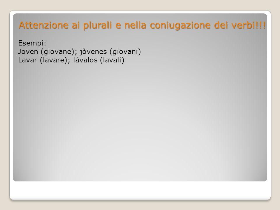 Attenzione ai plurali e nella coniugazione dei verbi!!!