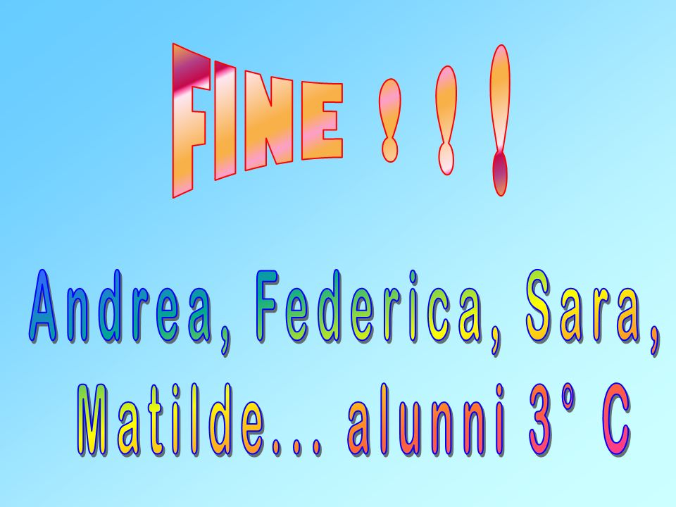 FINE ! ! ! Andrea, Federica, Sara, Matilde... alunni 3° C