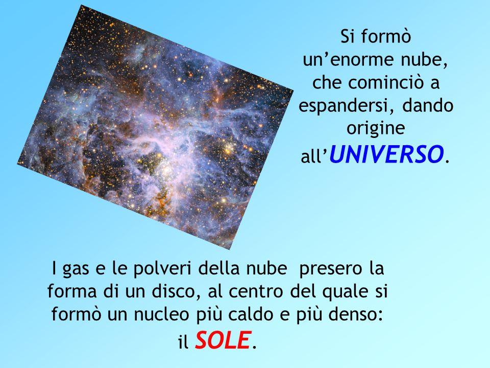 Si formò un'enorme nube, che cominciò a espandersi, dando origine all'UNIVERSO.