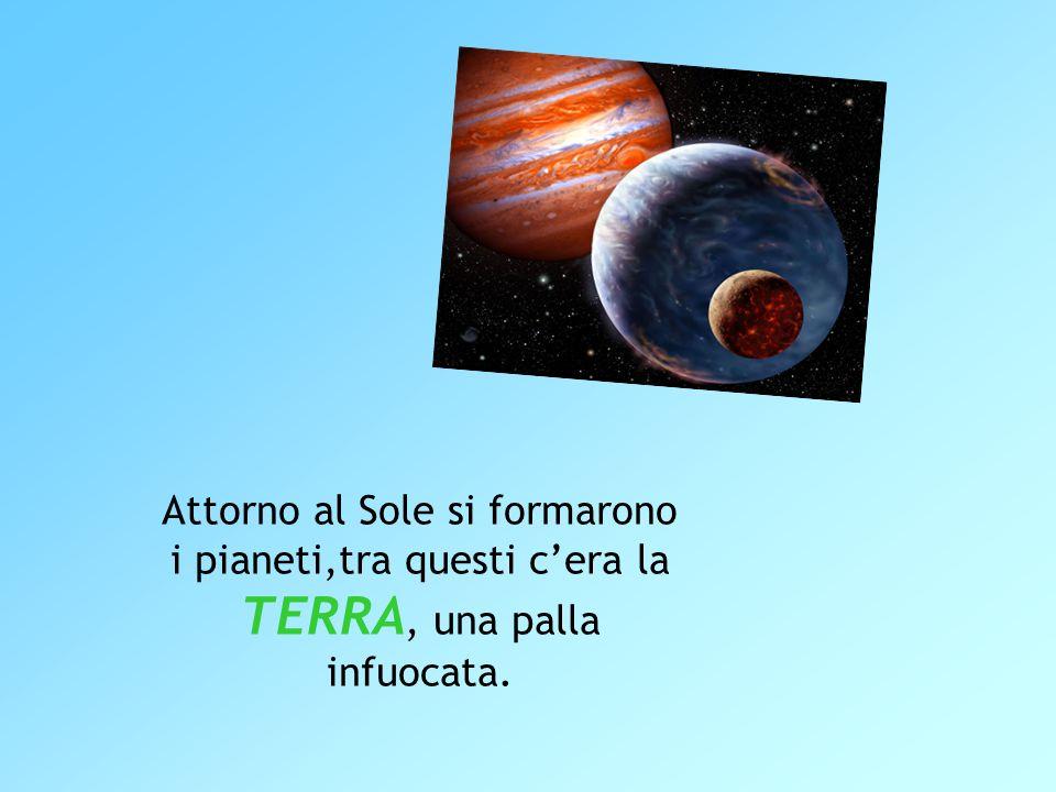 Attorno al Sole si formarono i pianeti,tra questi c'era la TERRA, una palla infuocata.