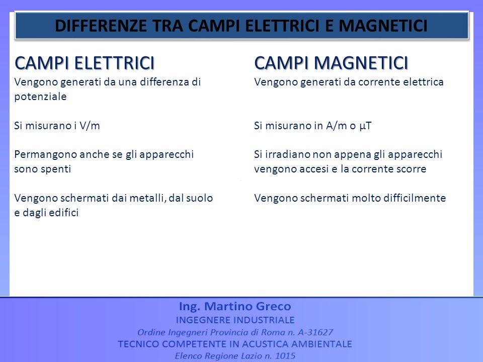DIFFERENZE TRA CAMPI ELETTRICI E MAGNETICI