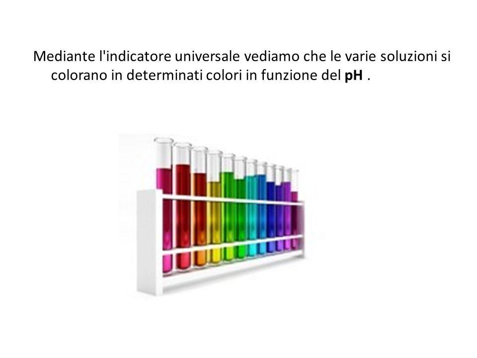 Mediante l indicatore universale vediamo che le varie soluzioni si colorano in determinati colori in funzione del pH .