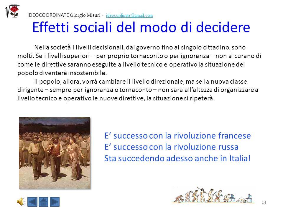 Effetti sociali del modo di decidere
