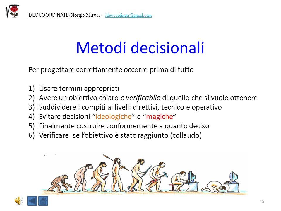 Metodi decisionali Per progettare correttamente occorre prima di tutto