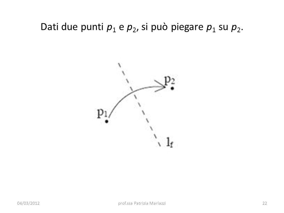 Dati due punti p1 e p2, si può piegare p1 su p2.
