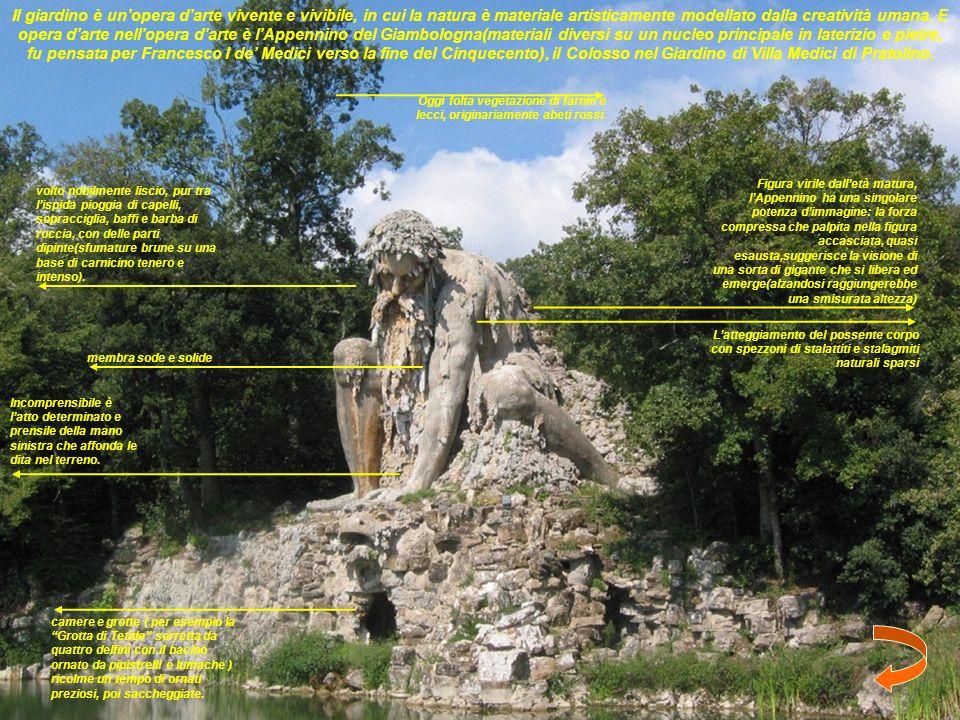 Il giardino è un'opera d'arte vivente e vivibile, in cui la natura è materiale artisticamente modellato dalla creatività umana. E opera d'arte nell'opera d'arte è l'Appennino del Giambologna(materiali diversi su un nucleo principale in laterizio e pietre, fu pensata per Francesco I de' Medici verso la fine del Cinquecento), il Colosso nel Giardino di Villa Medici di Pratolino.