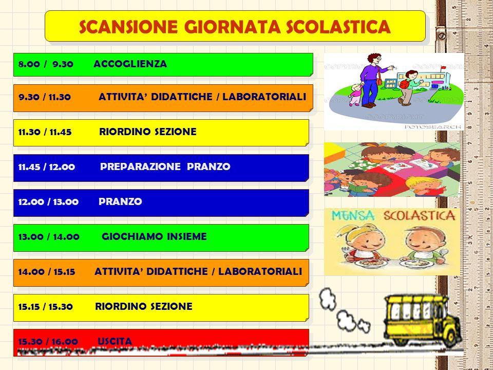 SCANSIONE GIORNATA SCOLASTICA